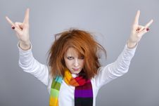 Free Red-haired Rock Girl In Scarf. Royalty Free Stock Image - 18131436