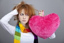 Free Sad Girl With Heart. St. Valentine Day Royalty Free Stock Photos - 18131468