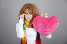 Free Sad Girl With Heart. St. Valentine Day Stock Photography - 18131472