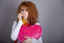 Free Sad Girl With Heart. St. Valentine Day Stock Photos - 18131513