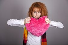 Free Sad Girl With Heart. St. Valentine Day Royalty Free Stock Images - 18131519