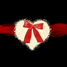 Free White Heart Red Bow Background Stock Images - 18131904