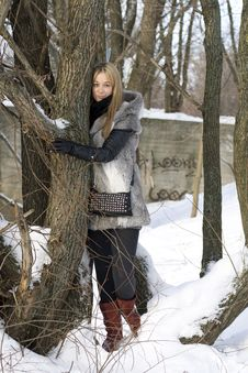 Smiling Girl Walking In Winter Stock Photos