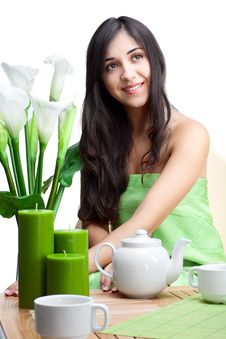 Free Beautiful Woman  In Cafe Royalty Free Stock Photos - 18132958