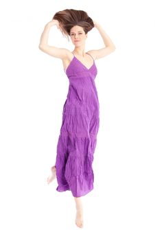 Free Elegant Woman In A Purple Dress Royalty Free Stock Image - 18133186