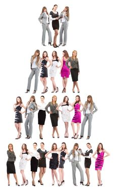 Many Peoples Isolated Over White Royalty Free Stock Photos