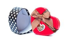 Free Gift Box Shaped Red Heart. Stock Image - 18139921
