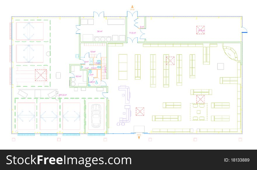 Blueprint of a commercial building made in CAD