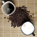 Free Two Coffee Cups And Coffee Beans Royalty Free Stock Photo - 18140775