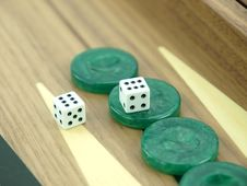 Free Backgammon Set With Dice Stock Photography - 18140172