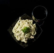 Free Pasta And Glass Of Wine Royalty Free Stock Photo - 18140595