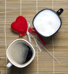 Free Two Coffee Cups And Heart Stock Image - 18140701