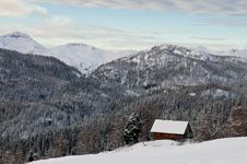 Free High Alpine Meadow Hut In Winter Stock Image - 18140871