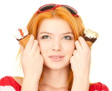 Free Cute Redhead With Ice Cream Stock Photography - 18141242