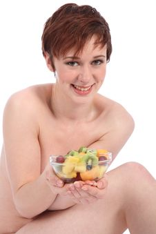 Beautiful Healthy Naked Girl Holding Bowl Of Fruit Stock Images