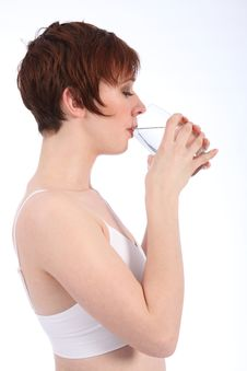 Free Healthy Happy Woman Drinking Glass Of Water Royalty Free Stock Photography - 18141557
