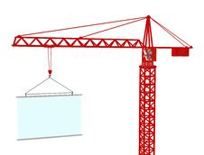Free Crane With Signboard. 3d Render. Royalty Free Stock Photos - 18141778