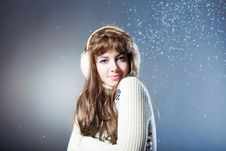 Free Young Beautiful Girl Rejoices To Snow Stock Photography - 18143282