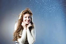 Free Young Beautiful Girl Rejoices To Snow Stock Image - 18143381
