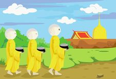 Free Buddhist Monks Collecting Alms. Royalty Free Stock Photos - 18143588