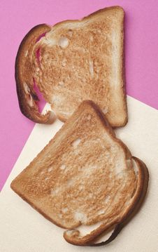 Free Toasted Bread Toast On Modern Pink And Yellow Stock Photos - 18144343