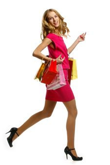 Free Beautiful Woman With Shopping Bags And Gift Boxes Royalty Free Stock Images - 18145959