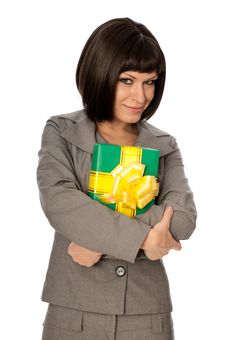 Free Green Box With Yellow Bow As A Gift Royalty Free Stock Photo - 18147655