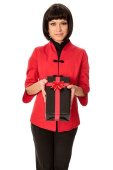 Free Gift With Red Bow Royalty Free Stock Photography - 18147667