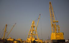 Cargo Ships With Cranes Stock Images