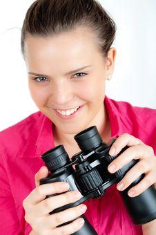 Surprised Girl With  Binoculars Royalty Free Stock Photo