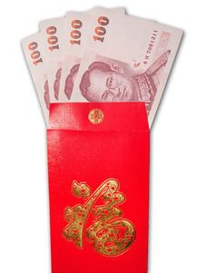 Free Thai Banknotes In Chinese Style Red Envelope Royalty Free Stock Photo - 18149265