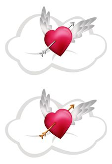 Free Flying Hearts With Arrows Royalty Free Stock Photo - 18149675