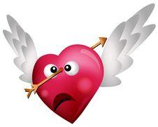 Free Three Flying HeartsFlying Heart Shot With An Arrow Stock Photos - 18149693