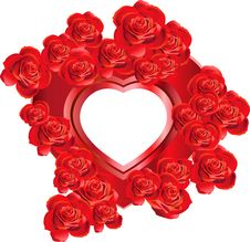 Free Heart-Shaped Frame With Roses Royalty Free Stock Images - 18149789