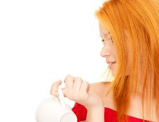 Free Lovely Redhead With White Cup On Breakfast Stock Images - 18150384