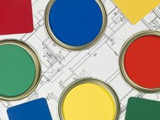 Free Paintcans And Blueprint Royalty Free Stock Photos - 18150638