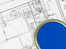 Free Blue Paintcan And Blueprint Stock Photos - 18150823