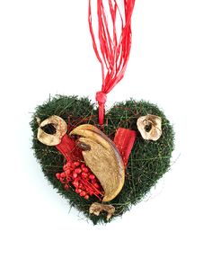 Free Christmas Decoration With Dried Fruits And Berries In Heart Shape Stock Photos - 18150963