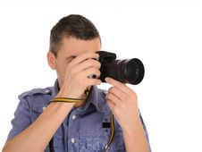 Professional Male Photographer Taking Picture Stock Image