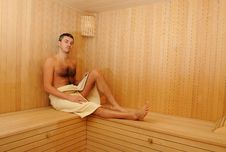 Free Young Handsome Man In A Russian Wooden Sauna Royalty Free Stock Photos - 18152708