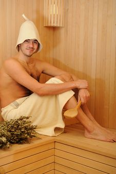 Free Young Handsome Man In A Russian Wooden Sauna Royalty Free Stock Photos - 18152768
