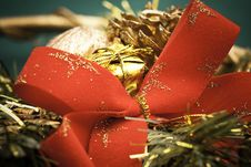 Christmas Red Bow And Decoration Stock Images