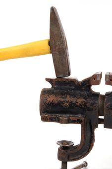Rusty Old Bench Vise And A Hammer Stock Images