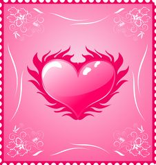Free Romantic Stamp For Valentine S Day Royalty Free Stock Photo - 18153325