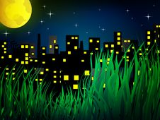Free Nigh City With Full Moon Royalty Free Stock Image - 18153806