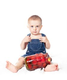 Free Small Beautiful Baby Boy With Tin Of Tomatoes Stock Images - 18153814