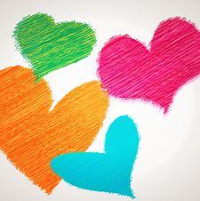 Scribble  Hearts Stock Photos