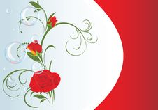 Free Red Roses With Bubbles And Floral Ornament. Card Stock Photography - 18155692