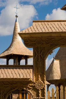 Wooden Church Roof And Steeple Stock Image