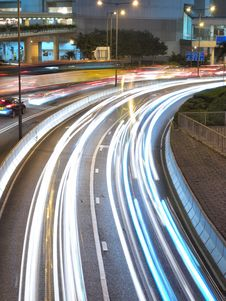 Downtown Traffic At Night Royalty Free Stock Photography